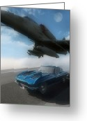 Antique Cars Greeting Cards - Wild Blue Greeting Card by Richard Rizzo