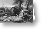 Boar Greeting Cards - Wild Boar Hunt Greeting Card by Granger