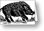 Boar Greeting Cards - Wild Boar, Woodcut Greeting Card by Gary Hincks