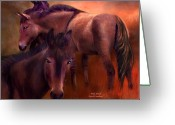 Horse Art Giclee Greeting Cards - Wild Breed Greeting Card by Carol Cavalaris