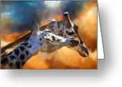 African Giraffes Greeting Cards - Wild Dreamers Greeting Card by Carol Cavalaris