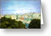 South Carolina Beach Greeting Cards - Wild Dunes Rainbow Row Greeting Card by Steven Richardson