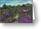 Grass Pastels Greeting Cards - Wild Flower Field Greeting Card by Anastasiya Malakhova