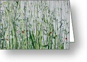 Lanscape Mixed Media Greeting Cards - Wild Flowers and  grasses no 4 Greeting Card by Mike   Bell