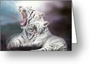 Tiger Cub Greeting Cards - Wild Generations - Tigers Roar Greeting Card by Carol Cavalaris