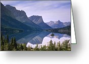 Wild Goose Greeting Cards - Wild Goose Island In St Marys Lake Greeting Card by Tim Fitzharris