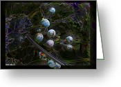 Grape Macro Digital Art Greeting Cards - Wild Grapes abstracted Greeting Card by Debbie Portwood