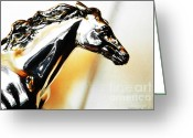 Equine Mixed Media Greeting Cards - Wild Horse Abstract Greeting Card by AdSpice Studios