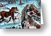 Wild Horses Greeting Cards - Wild Horses Greeting Card by Bob Crawford