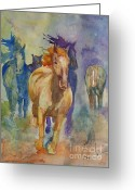 Splashes Greeting Cards - Wild Horses Greeting Card by Gretchen Bjornson