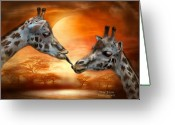 African Giraffes Greeting Cards - Wild Kisses Greeting Card by Carol Cavalaris