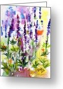 Ginette Fine Art Llc Ginette Callaway Greeting Cards - Wild Lupines Watercolor by Ginette Greeting Card by Ginette Fine Art LLC Ginette Callaway
