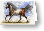 Wild Horse Drawings Greeting Cards - Wild Mustang Greeting Card by Angel  Tarantella