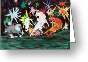 Conformist Greeting Cards - Wild Night Greeting Card by Gail Daley