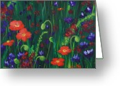 Botanical Greeting Cards Prints Greeting Cards - Wild Poppies Greeting Card by Anastasiya Malakhova