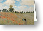 Monet Greeting Cards - Wild Poppies near Argenteuil Greeting Card by Claude Monet