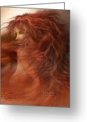 Redhead Greeting Cards - Wild Red Wind Greeting Card by Carol Cavalaris