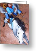 Wild Horse Painting Greeting Cards - Wild Ride Greeting Card by Tanja Ware