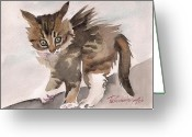 Gray Tabby Greeting Cards - Wild Thing Greeting Card by Yuliya Podlinnova