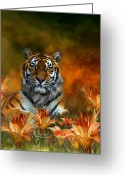 Animal Art Giclee Mixed Media Greeting Cards - Wild Tigers Greeting Card by Carol Cavalaris