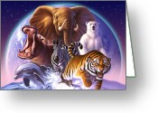 Tiger Tapestries Textiles Greeting Cards - Wild World Greeting Card by Jerry LoFaro