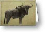 Wildlife Drawings Greeting Cards - Wildebeest Greeting Card by James W Johnson