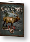 Pine Tree Greeting Cards - Wilderness Elk Greeting Card by JQ Licensing