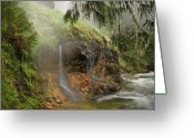 Pouring Greeting Cards - Wilderness Hot Springs Greeting Card by Leland Howard