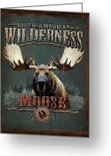 Pine Tree Greeting Cards - Wilderness Moose Greeting Card by JQ Licensing