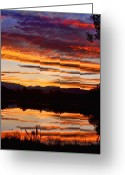 Sunset Posters Greeting Cards - Wildfire Sunset 1V  Greeting Card by James Bo Insogna