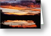 Sunset Posters Greeting Cards - Wildfire Sunset Reflection Image 28 Greeting Card by James Bo Insogna