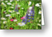White Colors Greeting Cards - Wildflower Meadow - Abstract Impressions Greeting Card by Thomas Schoeller
