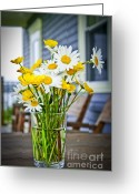 Wooden Home Greeting Cards - Wildflowers bouquet at cottage Greeting Card by Elena Elisseeva