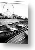 Ferris Wheel Greeting Cards - Wildwood Black Greeting Card by John Rizzuto