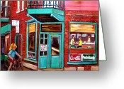 Resto Bars Greeting Cards - Wilenskys Cafe On Fairmount In Montreal Greeting Card by Carole Spandau
