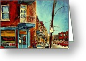 Montreal Summer Scenes Greeting Cards - Wilenskys Corner Fairmount And Clark Greeting Card by Carole Spandau