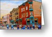Hockey On The Streets Of Montreal Greeting Cards - Wilenskys Diner Hockey Game In Progress Greeting Card by Carole Spandau