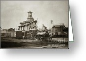 Brewing Greeting Cards - Wilkes Barre PA. New Jersey Central Train Station Early 1900s Greeting Card by Arthur Miller