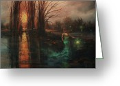 Ghostly Greeting Cards - Will-o-the-wisp Greeting Card by Tom Shropshire