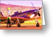 Racer Digital Art Greeting Cards - Will Whiteside and P-51 Mustang Voodoo Greeting Card by Gus McCrea