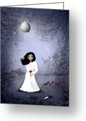 White Dress Greeting Cards - Will You Remember Me Greeting Card by Charlene Zatloukal