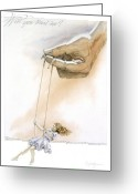 Hand Painting Greeting Cards - Will You Trust Me Greeting Card by Cliff Hawley