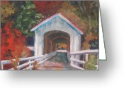 Covered Bridge Painting Greeting Cards - Willamette Valley Covered Bridge Greeting Card by Buff Holtman