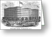 Cities Greeting Cards - Willards Hotel, 1859 Greeting Card by Granger
