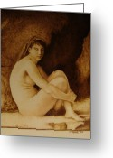 Nudes Pyrography Greeting Cards - William Bouguereau Seated Nude  Greeting Card by Jo Schwartz