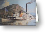 River Scenes Greeting Cards - William G Muller Lithograph Towboat Syracuse  Greeting Card by Jake Hartz