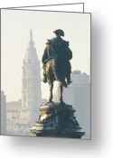 City Hall Digital Art Greeting Cards - William Penn and George Washington - Philadelphia Greeting Card by Bill Cannon