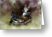 Kittens Digital Art Greeting Cards - William Wendy and the Workboot Greeting Card by Julie L Hoddinott