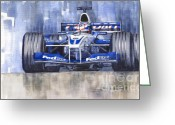 Sport Painting Greeting Cards - Williams BMW FW24 2002 Juan Pablo Montoya Greeting Card by Yuriy  Shevchuk
