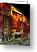 Photographs With Red. Greeting Cards - Williams Feed Mill in Williams Indiana Greeting Card by Julie Dant